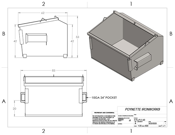 4yd Front Load Low Profile 2-Lid
