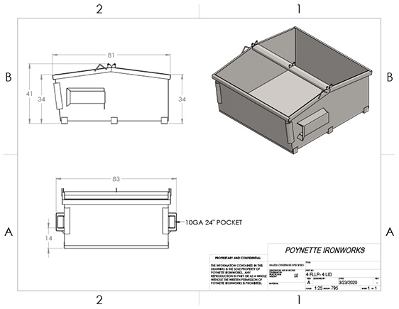 4yd Front Load Low Profile 4-Lid
